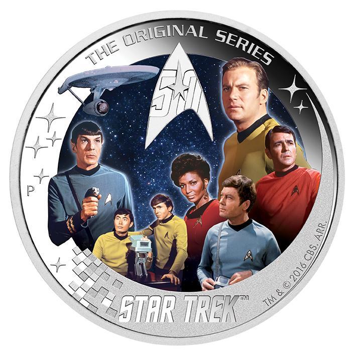 Star Trek 2016 2oz Silver Proof Coin U.S.S. Enterprise NCC-1701 Crew Communicator Set