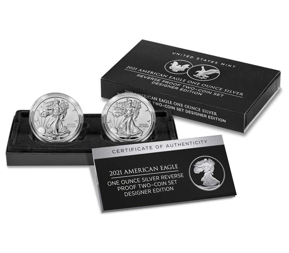 2021 American Silver Eagle Two Coin 1 oz Reverse Proof Set Designer Edition